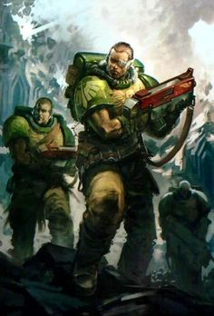 Dark Angels scouts Thought of the Day: Survival is no birthright, but a prize wrested from an uncaring galaxy by forgotten heroes. Warhammer 40k Rpg, Warhammer Fantasy, Dark Angels 40k, Miniaturas Warhammer 40k, Space Marine, Looks Cool, Fantasy Characters, Oeuvre D'art, Les Oeuvres