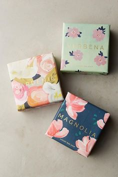 Each of Mistral's French-milled bars of soap are hand-wrapped in papers illustrated with floral watercolors. Soap Packaging, Pretty Packaging, Beauty Packaging, Packaging Ideas, Product Packaging Design, Vintage Design, Home Made Soap, Packaging Design Inspiration, Feminine Packaging Design