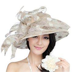 f1bac5d8c23 June s Young Women Hat Sun Hat Paillette Wide Brim Organza Feather Review