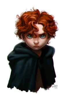 Young gender bent Merida is so adorable!! This is what her brothers will look like when they're a bit older!!