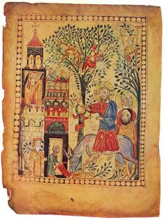 Armenian Miniatures Jesus entering Jerusalem, seated on a donkey (and Zacheus in the tree?)