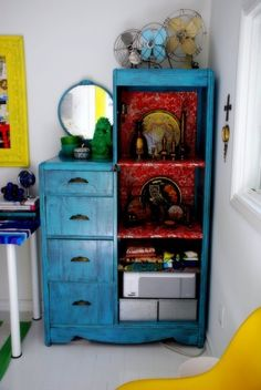Kim Johnson- home office- art deco armoire - eclectic - home office - other metro - Desire to Inspire Office Art, Home Office Design, Office Decor, Office Ideas, Repurposed Furniture, Painted Furniture, Turquoise Furniture, Distressed Furniture, Furniture Makeover