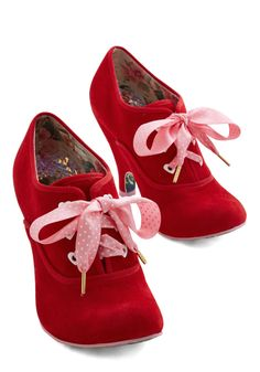 Irregular Choice Walk it Haute Bootie. Strut your stylish stuff around the South Side, East Side, and every city block in these bold, cherry-red booties from Irregular Choice. Sock Shoes, Cute Shoes, Me Too Shoes, Shoe Boots, Dream Shoes, Crazy Shoes, Red Booties, Ankle Booties, Irregular Choice Shoes
