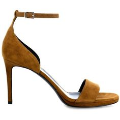 Saint Laurent Jane suede sandals (13,650 MXN) ❤ liked on Polyvore featuring shoes, sandals, heels, tan, yves saint laurent shoes, tan heel sandals, toe-strap sandals, stiletto high heel shoes and stiletto heel sandals