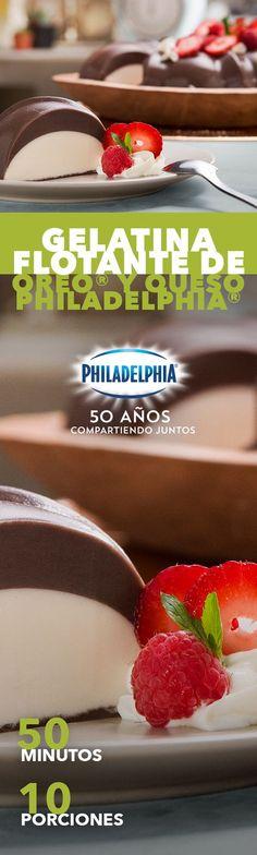 No nos engañas, usarás esta Gelatina flotante de Oreo® y Queso Philadelphia® para conquistar a esa persona especial. #recetas #receta #quesophiladelphia #philadelphia #quesocrema #queso #comida #cocinar #cocinamexicana #recetasfáciles #recetasPhiladelphia #recetasdecocina #comer #gelatina #oreo #chocolate #gelatinas #postre #postres #postrephiladelphia #fresas