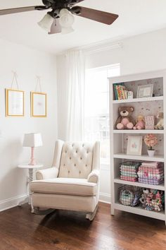BEE MINE PHOTOGRAPHY // Akron Canton Ohio Photographer // Baby girl nursery, pink nursery, wallpaper, floral nursery, ribbon crib mobile, nursery floral initial letter, pink white and gold nursery, jenny lind, indy bloom design wallpaper