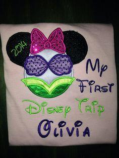 My First Disney Trip/Mickey Ears appliqued shirt. by BellaRagazzi, $24.00