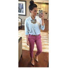 Necklace: Bauble Bar • Denim button up & capris pants: J.Crew • Flats: Target• www.instagram.com/tonyamichelle26