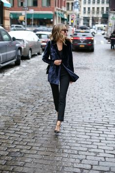 Mary Orton is a vision in velvet, pairing this super chic blue jacket with a plain black tee and cigarette trousers for a smart casual look to die for! Wear this style with shades and heels to capture the essence of this glamorous look!  Blazer: Elie Tahari, Jumper: CAMI NYC, Trousers: Theory, Shoes: SJP Collection.