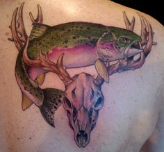 Buck skull and trout tatoo Father Tattoos, Dad Tattoos, Time Tattoos, Body Art Tattoos, Sleeve Tattoos, Tattoos For Guys, Tatoos, Wrist Tattoos, Deer Antler Tattoos