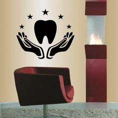 Dental Office Decor, Medical Office Design, Office Lamp, Dental Clinic Logo, Dental Art, Dental Jewelry, Dental Posters, Decor Logo, Gold Leaf Art