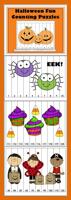 Halloween Counting Puzzles and skip counting Counting Puzzles, Number Puzzles, Skip Counting, Math Numbers, Halloween Math, Halloween Themes, Fact Families, Charts And Graphs, Elementary Math