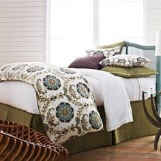Fresh and fun! This Suzani-inspired print adds a hint of vivid design to your peaceful sanctuary. Duvet cover is backed in a solid linen fabric.  Cordova by Peacock Alley