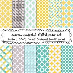 digital paper quatrefoil trellis patterns, yellow gray aqua turquoise blue, classic photography backgrounds, baby shower nursery 536 by huetoo on Etsy https://www.etsy.com/listing/160688338/digital-paper-quatrefoil-trellis