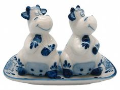 Delft Salt and Pepper Shakers Happy Cows