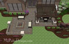 Fun Fire Pit Patio Design with Pergola 2