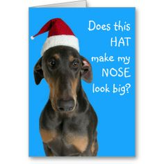 Funny dog with Santa Hat Christmas card - honestly, my 1 dog {:-)