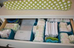 Baby Boy Aqua, Gray, & Green Nursery on Project Nursery Dresser Drawer Organization Ikea SKUBB boxes  {Partyology by Lisa Riley}