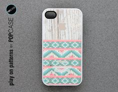 iphone 4 Case - iphone 4 cover - plastic or silicone rubber - geometric pattern on wood on Wanelo