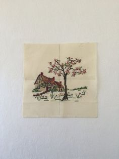 Vintage Cross Stitch Cottage Completed Cross by TheLittleThingsVin