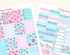Unicorns Printable Planner Stickers  Gift by EnjoyPlanning on Etsy