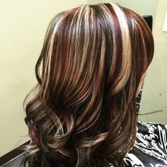 Fun gorgeous color today!! Dark mocha brown with blonde and burgundy streaks!! #highlights #blonde ...