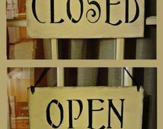 Geöffnete geschlossen Zeichen Double Sided Reversible primitiven shabby Landhaus Vintage Creme schwarz Geschäft Zeichen speichern Shop boutique