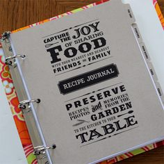 "Recipe Journal   Create your personalized recipe journal with favorite recipes and photos. The book begins with ""About the Chef"".  Includes 2 sided rcipe pages and sleeves to hold 4 x 6 printed recipes and photos.    $48"