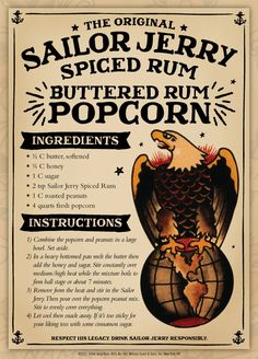 The original Sailor Jerry spiced rum is blended with the finest rums from the Caribbean & our recipe of natural spices. Visit Sailor Jerry to learn more. Rum Recipes, Popcorn Recipes, Cooking Recipes, Recipies, Candy Recipes, Sailor Jerry Rum, Drink Bar, Appetizer Recipes, Snack Recipes