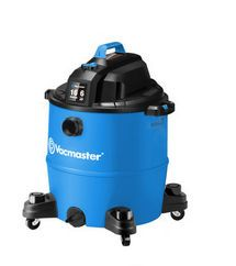This 16 gallon wet/dry vac is ready for anything and features a 6 peak HP motor powerful enough to handle any job. The 12 Ft. power cord and extension wands increases reach; the four casters improve manuverability and the extra large drain make it easy to empty liquids. This convenient, durable and reliable Vacmaster is a must have for any tough project in the home, garage or shop.