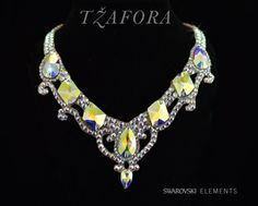Beautiful ballroom jewelry necklace in Crystal Ab with large stones.  shop at tzafora.com