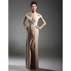 TS+Couture®+Formal+Evening+/+Military+Ball+Dress+-+Furcal+Plus+Size+/+Petite+Sheath+/+Column+Off-the-shoulder+/+V-neck+Floor-length+Chiffon+–+USD+$+119.99
