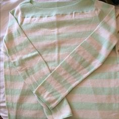 Shirt/very lightweight sweater This is a very cute mint green and cream stripped shirt from Gap that has been gently worn. Great with a pair of jeans and Sperrys or other flats. Sweaters Crew & Scoop Necks