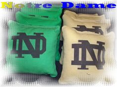 Cornhole bean bags University of Notre Dame by thisandthatbyv, $24.99   (click on the picture to go to my Etsy store.) ALL pinterest orders receive 10% off in our Etsy store if you use coupon code sawitonpinterest