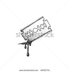 Image result for self harm razor art drawing