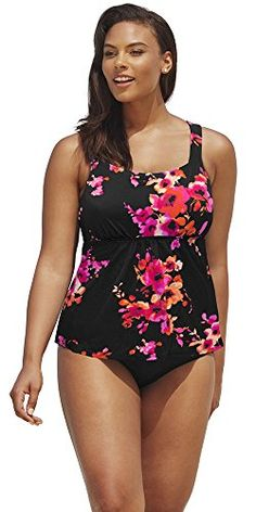 e5d562178c9d5 Introducing Beach Belle Poppies Plus Size Flared Tankini Plus Size Swimwear  Orange Size18. Grab Your