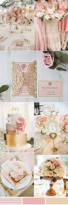 blush pink and gold vintage wedding invitations with matching wedding colors