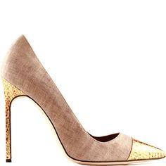 Manolo Blahnik Neutraland Gold Linen & Snakeskin Pumps #Manolos #Shoes #Heels