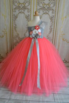 Coral Grey and White flower girl tutu by TutuSweetBoutiqueINC