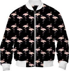 Pink Flamingo Pattern on Black