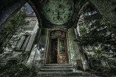 """The entrance of the Château Lumière, an abandoned villa in Alsace, France. The building looks impressive considering that once upon a time it was """"just the… The Ch, Urban Exploration, Alsace, Big Ben, Abandoned, Entrance, Castle, Explore, Building"""