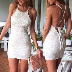 Fashion Solid Color Lace Bodycon Dress                                                                                                                                                     More