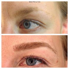 Semi-permanent makeup hairstroke technique for eyebrows.  www.naturalimpressions.biz