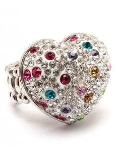 CHUNKY RAINBOW CRYSTAL HEART LADIES FASHION STRETCH RING - View All Rings - Rings - Jewellery