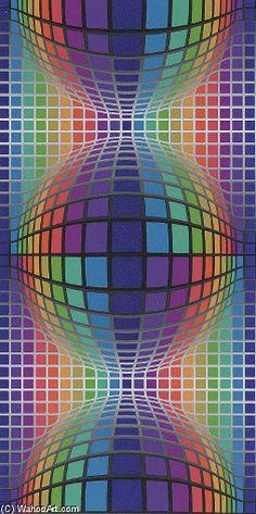 Victor Vasarely >> Sinfel | (Oil, artwork, reproduction, copy ...