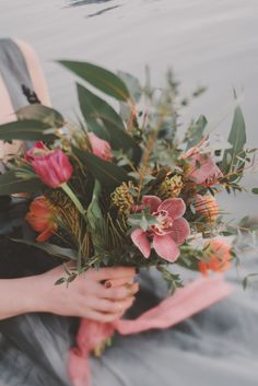 Lunchtime Wedding Treat - The dark foliage in this bridal bouquet frames the pops of pink and peach perfectly. Picture by Anouk fotografeert Gray Wedding Colors, Floral Wedding, Rustic Wedding, Wedding Flowers, Wedding Ideas, Norwegian Wedding, Pink Mountains, Bride Bouquets, Floral Arrangements