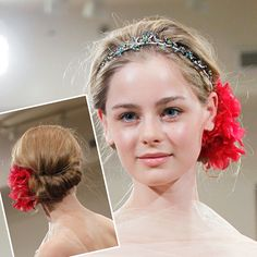Rolled Bun Brides.com: Wedding Hair and Makeup Ideas from the Runways . Reem Acra. Featuring big poppy-like fabric hairpins, the updos at Reem Acra had a dreamy Mucha-esque vibe—the perfect look if you're wearing a vintage-inspired gown. (We wouldn't recommend a style featuring a headband if you have a lot of flyaways or breakage around your hairline, though.) See the Spring 2012 Reem Acra collection.