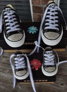 Mommy & Me Bling Converse Set- Swarovski Crystal Embellished Infant Toddler Childrens Shoes- Mommy and Daughter. $125.00