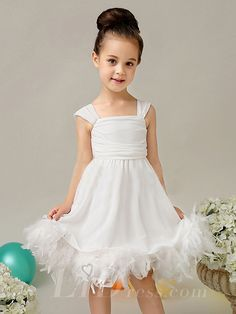 Little Girls White Straps Performance Dress Flower Girls Skirt With feather