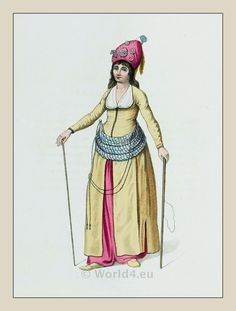 AN ATTENDANT OF THE HAREM. Traditional Turkish Women's Costume, 1800